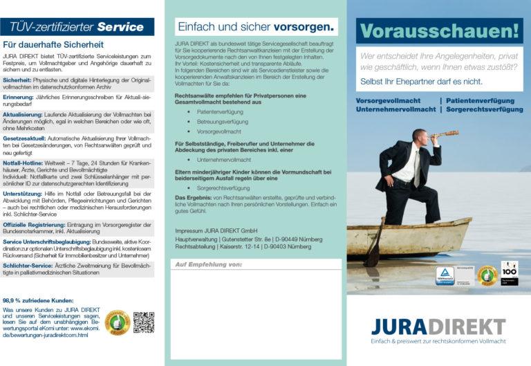 Informationsbroschüre: Jura Direkt: TÜV-zertifizierter Service
