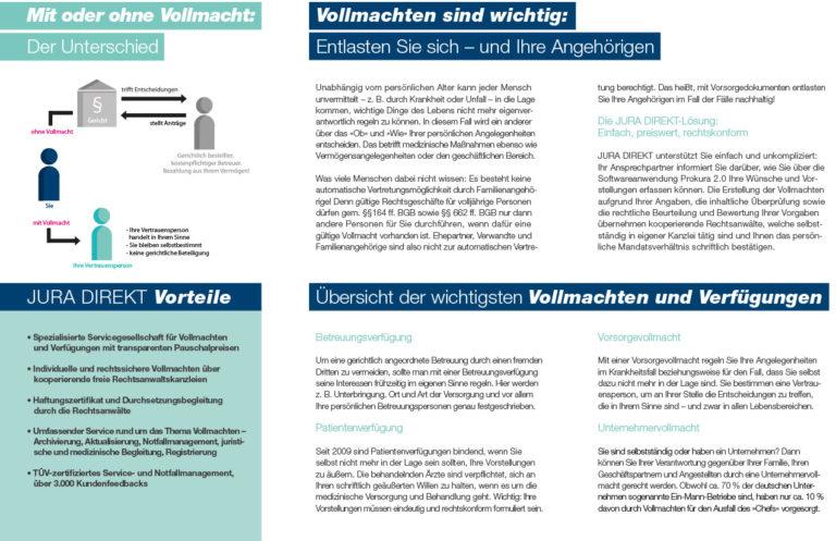 Informationsbroschüre: Jura Direkt: Vollmachten und Verfügungen