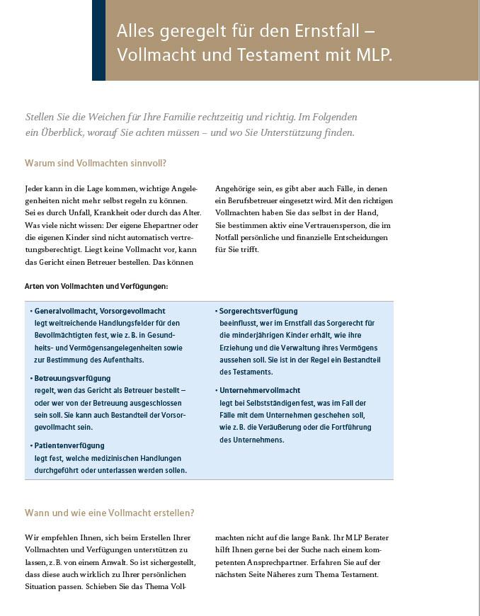 Factsheet: Vollmacht und Testament mit MLP